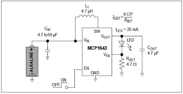Типичная схема приложения с питанием от одной батарейки