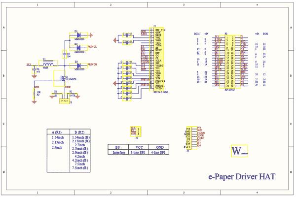 Схема принципиальная электрическая платы e-Paper Driver