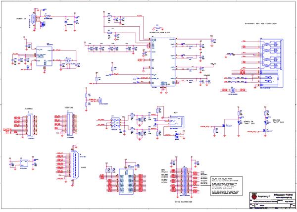 Упрощенная схема принципиальная электрическая Raspberry Pi3 Model B+