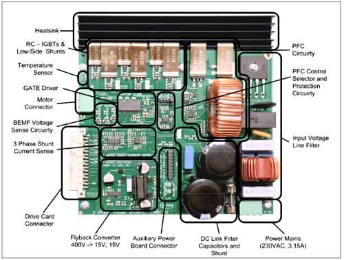 Расположение компонентов на плате 750Вт 3-фазного силового инвертора