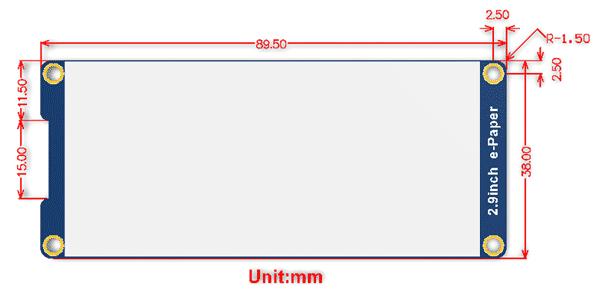 Размеры модуля 2.9inch e-Paper Module [С]