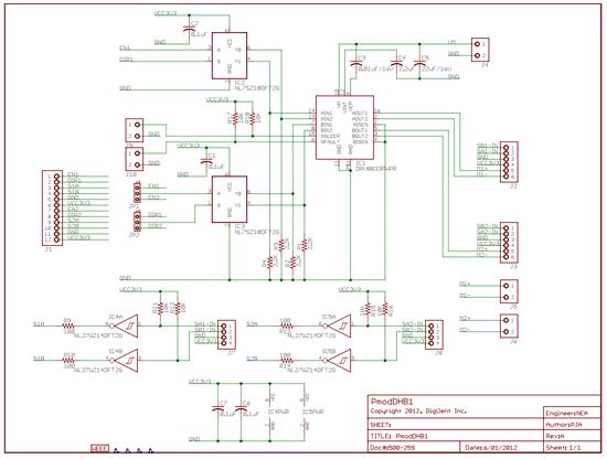 Схема принципиальная электрическая модуля  Pmod DHB1