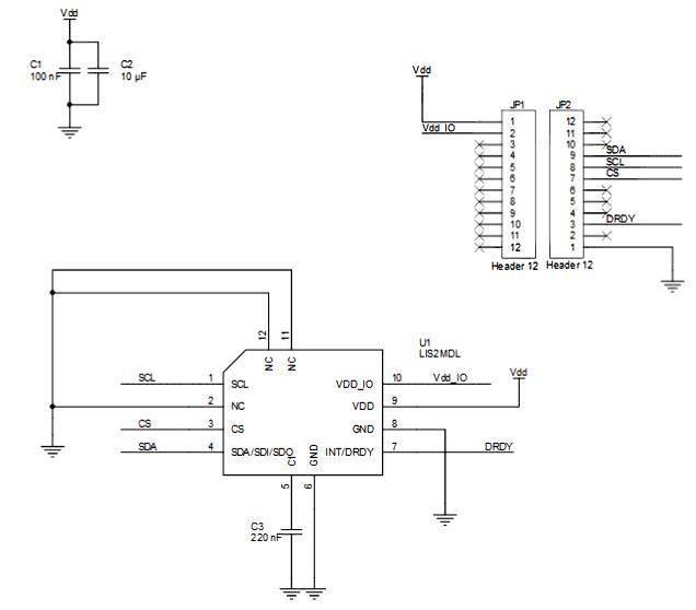 Схема принципиальная электрическая платы STEVAL-MKI181V1