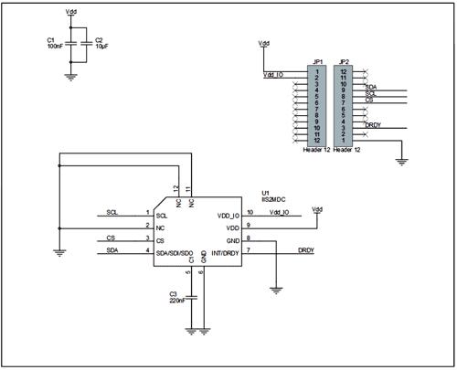 Схема принципиальная электрическая платы STEVAL-MKI185V1