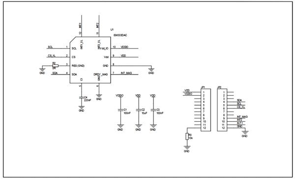 Схема принципиальная электрическая платы STEVAL-MKI184V1