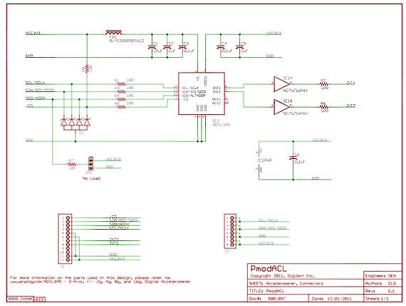 Схема принципиальная электрическая модуля PmodACL