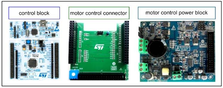Составляющие системы управления двигателем: блок управления (STM32 Nucleo), плата расширения X-NUCLEO-IHM09M1, силовой блок управления двигателем