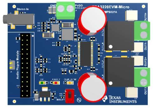 Микромодуль TPA3220EVM-MICRO. Вид сверху