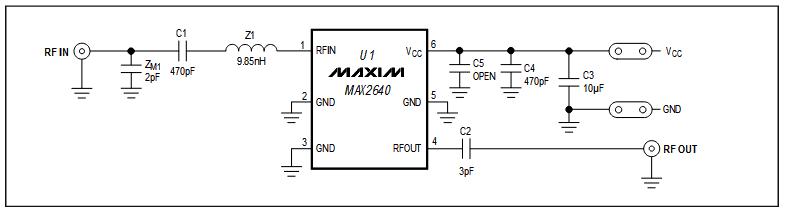 Схема принципиальная электрическая оценочной платы MAX2640EVKIT