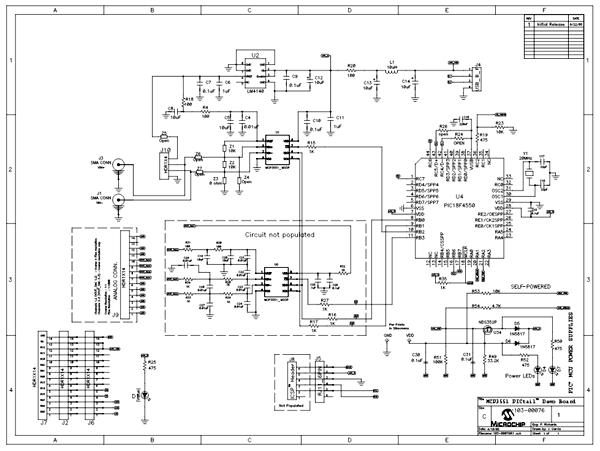 Схема принципиальная электрическая демонстрационной платы MCP3551DM-PCTL