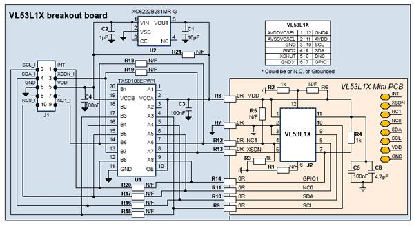 Схема принципиальная электрическая платы VL53L1X-SATEL