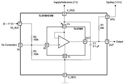 Пример использования оценочного модуля TLV7081EVM