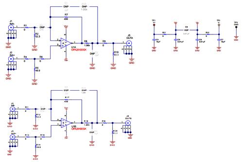Схема принципиальная электрическая оценочного модуля OPA2810DGKEVM