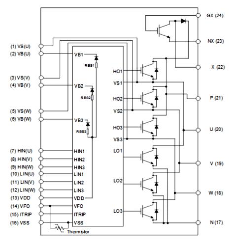 Внутренняя структура IPM модуля IFCM15F60GD
