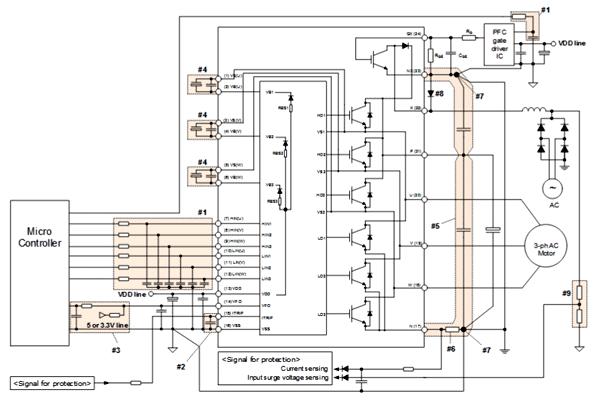 Схем типичного приложения для IPM модуля IFCM15F60GD