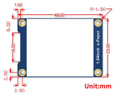 Размеры модуля 1.54inch e-Paper Module [C]