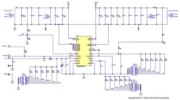 Схема принципиальная электрическая оценочной платы TPSM84424EVM-013
