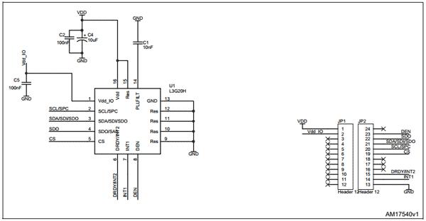 Схема принципиальная электрическая платы адаптера STEVAL-MKI136V1 3-осевого гироскопа L3GD20H