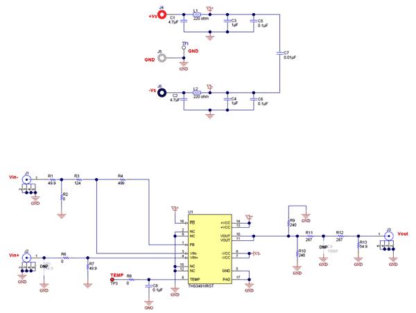 Схема принципиальная электрическая оценочного модуля THS3491RGTEVM