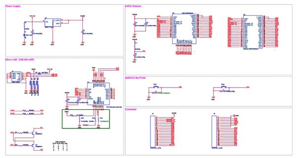 Схема принципиальная электрическая отладочной платы ESP32-DEVKITC-32