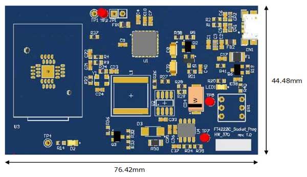Расположение компонентов на плате UMFT4222PROG-IC