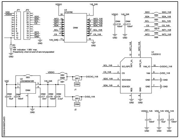 Схема принципиальная электрическая оценочной платы STEVAL-MKI174V1