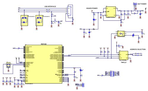 Схема принципиальная электрическая оценочного модуля TMP117EVM