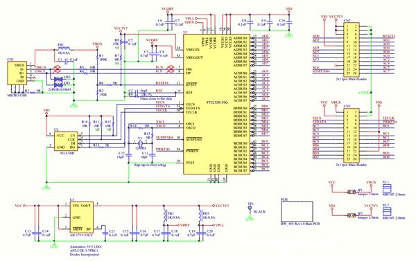 Схема принципиальная электрическая модуля FT2232H-56Q MINI MDL