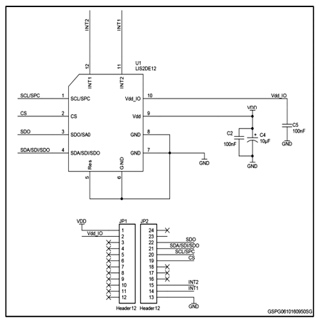 Схема принципиальная электрическая оценочной платы STEVAL-MKI175V1
