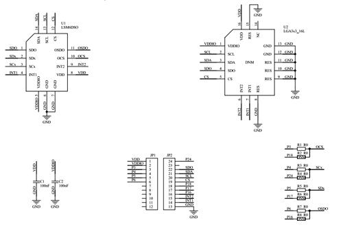 Схема принципиальная электрическая оценочной платы STEVAL-MKI196V1