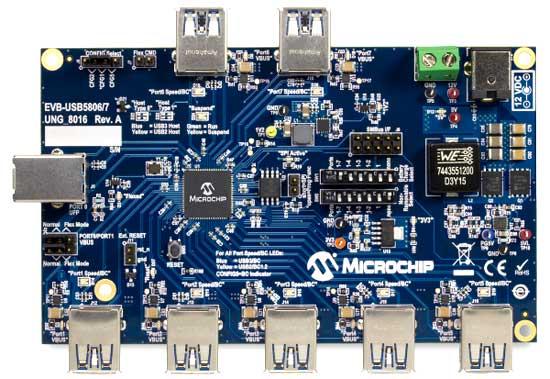 Оценочная плата 7-портового смарт хаба USB5807. Вид сверху