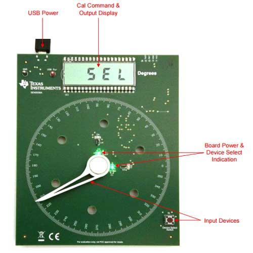 Компоненты простого и интуитивно понятного пользовательского интерфейса платы DRV5055-ANGLE-EVM
