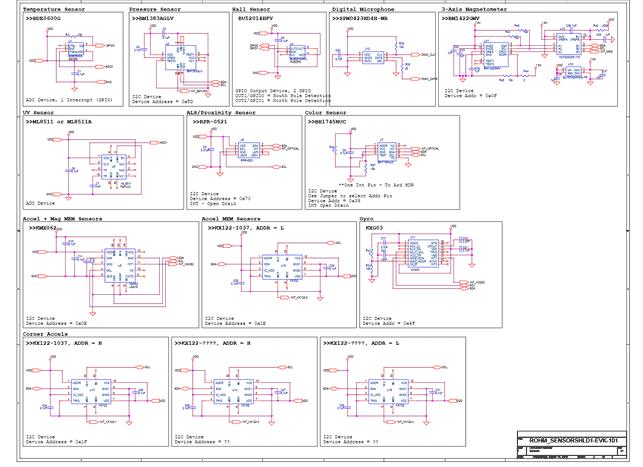 Схема принципиальная электрическая оценочной платы SENSORSHLD1-EVK-101