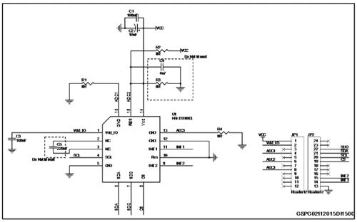 Схема принципиальная электрическая оценочной платы STEVAL-MKI166V1