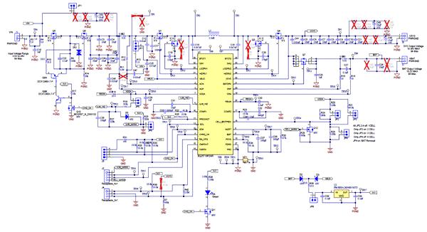 Схема принципиальная электрическая оценочного модуля BQ25713EVM-017