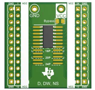 Корректно установленная на плату 14-выводная микросхема в корпусе D