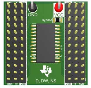 Секция платы 14-24-LOGIC-EVM с установленной микросхемой, разъемами, контрольными точками и развязывающим конденсатором
