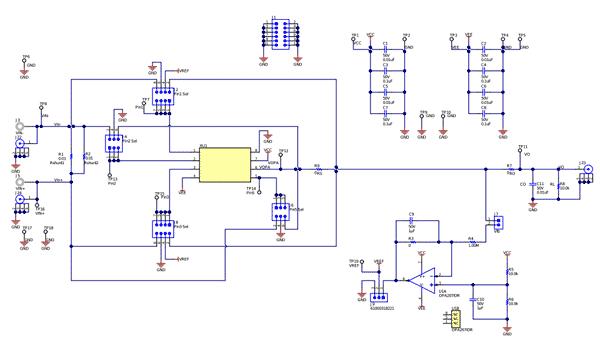 Схема принципиальная электрическая оценочной платы DIFFAMP-EVM