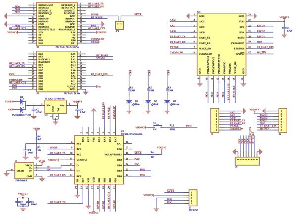 Схема принципиальная электрическая отладочной платы RN-4020-PICTAIL