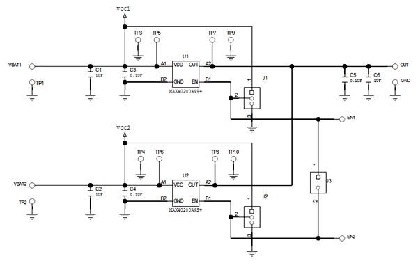 Схема принципиальная электрическая оценочной платы MAX40200EVKIT