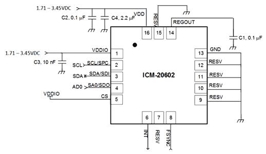 Типичная схема включения датчика ISM-20602