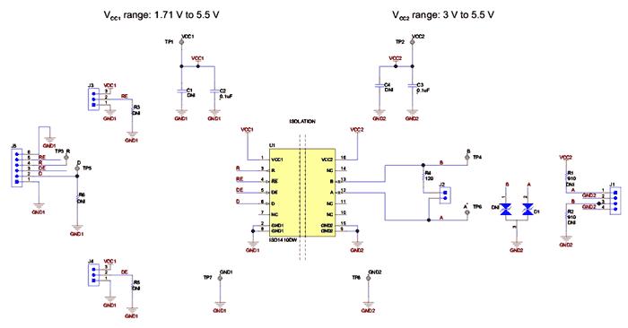 Схема принципиальная электрическая оценочного модуля ISO1410DWEVM