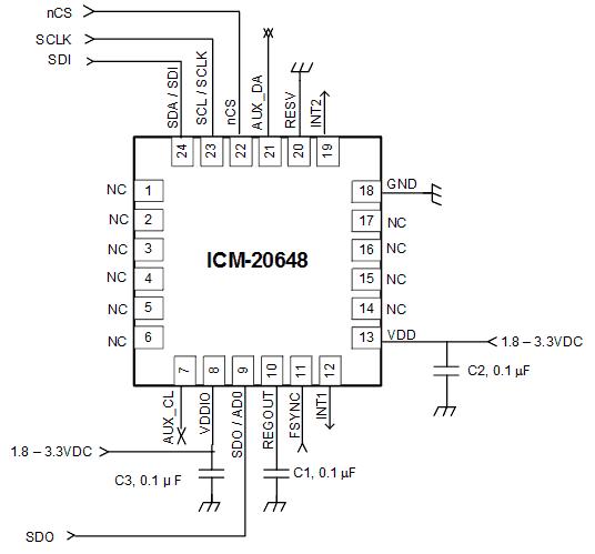 Типичная схема подключений к датчику ISM-20648