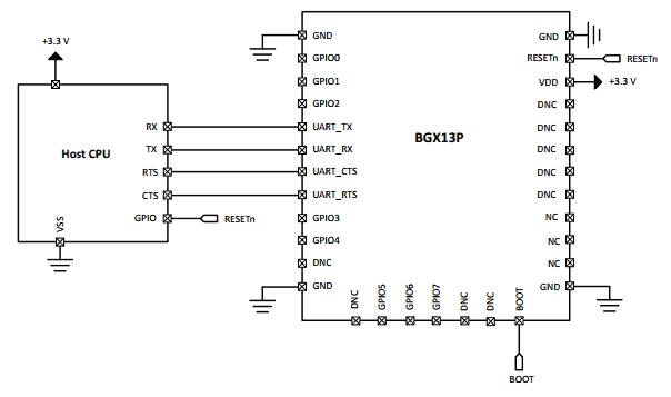 Типичная схема подключения модуля BGX13P к хосту