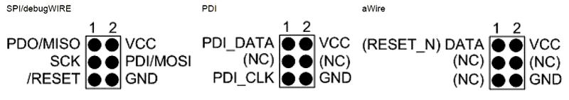 6-контактные разъемы AVR ISP/debugWIRE/PDI/aWire