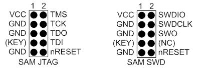 10-контактный SAM JTAG/SWD разъем