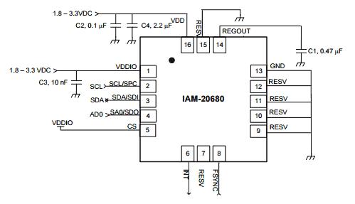 Типичная схема подключений к датчику IAM-20680