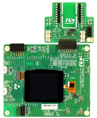 STM32F7308-DK с подключенной платой Fanout board. Вид сверху