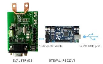 Подключение оценочной платы EVALSTPM32 к ПК с использованием платы STEVAL-IPE023V1