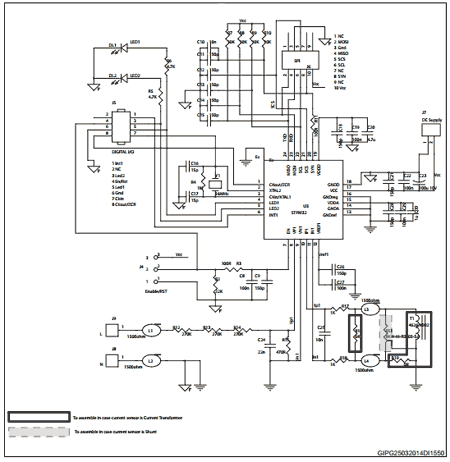 Схема приложения с чипом STPM32